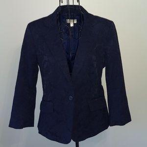 Ann Taylor LOFT Navy Floral Jacket Size 6